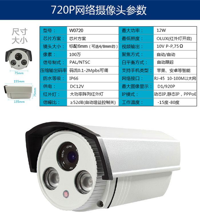 720P网络摄像机参数